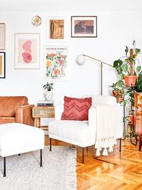 Teddy fauteuil Fluente in crèmewit met metalen poten, Bekleding: 100% polyester (teddyvach, Frame: massief grenenhout, Poten: gepoedercoat metaal, Teddy crèmewit, B 74 x D 85 cm