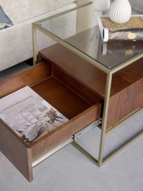 Tavolino con cassetto Theodor, Piano d'appoggio: vetro, Struttura: metallo verniciato a polv, Legno di mango, Larg. 50 x Alt. 50 cm