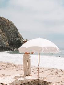 Beige parasol Retro met franjes, knikbaar, Frame: gelamineerd hout, Franjes: katoen, Gebroken wit, Ø 180 x H 230 cm