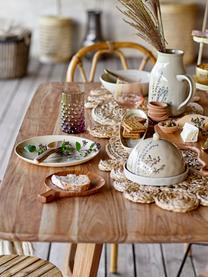 Assiette à dessert faite main à motif herbe Bea, Beige, multicolore