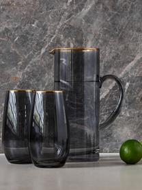 Hohe Gläser Chloe in Graublau mit Goldrand, 4 Stück, Glas, Graublau, Ø 9 x H 16 cm