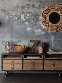 Credenza bassa industriale Sol, Nero, legno di pino, Larg. 155 x Alt. 58 cm