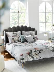 Parure copripiumino in raso di cotone Blossom, Grigio, 155 x 200 cm + 1 cuscino 50 x 80 cm