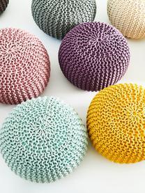 Pouf a maglia fatto a mano Dori, Rivestimento: 100% cotone, Rosa, Ø 55 x Alt. 35 cm