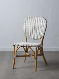 Krzesło z rattanu Laia, Rattan ze splotem polypeel, Biały, czarny, S 61 x G 47 cm