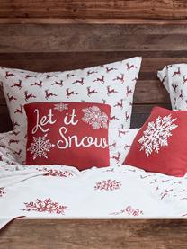Housse de coussin 40x40 tricot Noël Let it Snow, Rouge, blanc crème