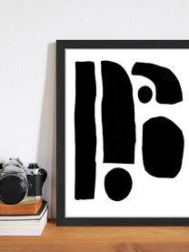 Gerahmter Digitaldruck Geometric Collage, Bild: Digitaldruck auf Papier, , Rahmen: Holz, lackiert, Front: Plexiglas, Schwarz, Weiß, 33 x 43 cm
