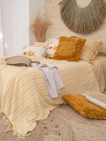 Narzuta z frędzlami Puket, 100% bawełna, Musztardowy, złamana biel, S 240 x D 260 cm (na łóżka do 160 x 200)