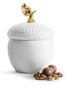 Aufbewahrungsdose Eichel, Steingut, Weiß, Goldfarben, Ø 14 x H 20 cm