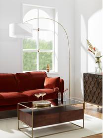 Lampadaire arc moderne Niels, Abat-jour: blanc Pied de lampe: couleur laitonCâble: transparent
