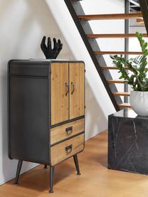 Credenza industrial Gin, Ante e cassetti: legno di abate Struttura, manici e piedini: grigio, Larg. 60 x Alt. 100 cm