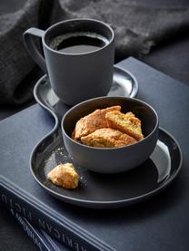 Tassen Nudge in Dunkelgrau matt/glänzend, 4 Stück, Porzellan, Dunkelgrau, Ø 8 x H 8 cm