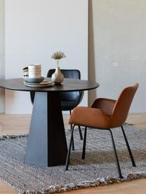 Okrągły stół do jadalni Pilar, Sklejka z fornirem z drewna jesionowego, Czarny, Ø 100 x W 76 cm