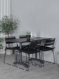 Stapelbarer Metall-Gartenstuhl Lina, Sitzkissen: Textil, Schaumstoff, Schwarz, B 47 x T 55 cm