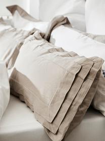 Gewaschene Leinen-Bettwäsche Helena in Beige mit Stehsaum, Halbleinen (52% Leinen, 48% Baumwolle)  Fadendichte 136 TC, Standard Qualität  Halbleinen hat von Natur aus einen kernigen Griff und einen natürlichen Knitterlook, der durch den Stonewash-Effekt verstärkt wird. Es absorbiert bis zu 35% Luftfeuchtigkeit, trocknet sehr schnell und wirkt in Sommernächten angenehm kühlend. Die hohe Reißfestigkeit macht Halbleinen scheuerfest und strapazierfähig., Beige, 135 x 200 cm + 1 Kissen 80 x 80 cm