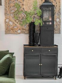 Metall-Kommode Magnus mit Glasfronten, Korpus: Metall, lackiert, Ablagefläche: Mangoholz, Schwarz, 85 x 90 cm