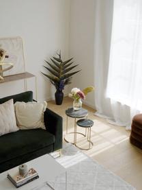Marmeren bijzettafelset Ella, 2-delig, Frame: gepoedercoat metaal, Tafelbladen: zwart marmer. Frame: mat goudkleurig, Set met verschillende formaten