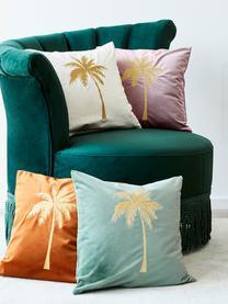 Glänzende Samt-Kissenhülle Palmsprings mit Stickerei, 100% Polyestersamt, Cremeweiß, Goldfarben, 40 x 40 cm