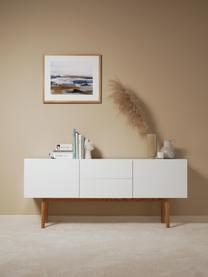 Komoda z wysokim połyskiem High on Wood, Korpus: średniej gęstości płyta p, Nogi: lite drewno dębowe, Biały, S 160 x W 72 cm