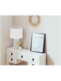Lampada da tavolo in ceramica Naomi, Paralume: tessuto, Base della lampada: ceramica, Bianco, Ø 28 x Alt. 52 cm