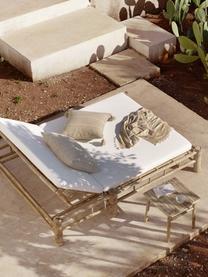 Leżak ogrodowy XL z drewna bambusowego Bambed, Stelaż: drewno bambusowe, Tapicerka: 100% bawełna, Biały, brązowy, S 150 x D 210 cm