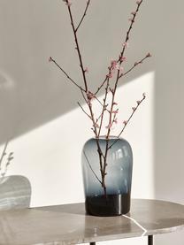 Vaso elegante in vetro soffiato Troll, Vetro soffiato, Grigio fumo, Ø 13 x Alt. 19 cm
