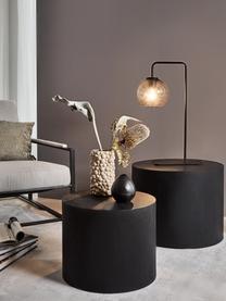 Set 2 tavolini in legno Dan, Pannello di fibra a media densità (MDF) con finitura in legno di frassino, Nero, Set in varie misure