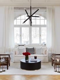 Tavolino da salotto rotondo Clarice, Corpo: legno di frassino, nero verniciato Base: dorato, Ø 90 x Alt. 35 cm