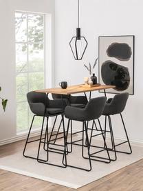 Barstühle Lisa, 2 Stück, Bezug: Polyester, Gestell: Metall, pulverbeschichtet, Dunkelgrau, Schwarz, 52 x 100 cm