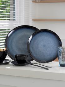 Talerz duży Sapphire, 3 szt., Kamionka, Niebieski, czarnobrązowy, Ø 27 cm
