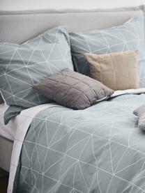 Baumwoll-Wendebettwäsche Marla mit grafischem Muster, Webart: Renforcé Fadendichte 144 , Grau, Weiß, 155 x 220 cm + 1 Kissen 80 x 80 cm