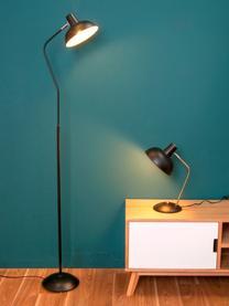 Lampe de bureau rétro Hood, Luminaire : noir, couleur laiton Intérieur abat-jour : blanc