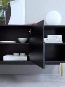 Dressoir Jesper met deuren in zwart, Frame: MDF met melaminecoating, Poten: gelakt metaal, Frame: zwart. Poten: glanzend goudkleurig, 160 x 80 cm