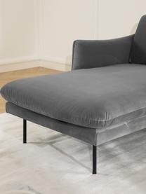 Divano angolare in velluto grigio Moby, Rivestimento: velluto (rivestimento in , Struttura: legno di pino massiccio, Velluto grigio, Larg. 280 x Prof. 160 cm