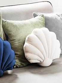 Samt-Kissen Shell in Muschelform, Vorderseite: 100% Polyestersamt, Rückseite: 100% Baumwolle, Dunkelblau, 28 x 30 cm