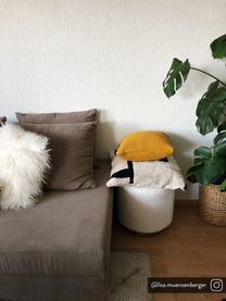 Federa arredo a maglia in cotone biologico giallo senape Adalyn, 100% cotone biologico, certificato GOTS, Giallo senape, Larg. 50 x Lung. 50 cm