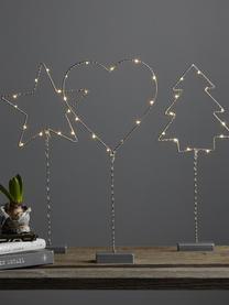 LED Leuchtobjekt Star, batteriebetrieben, Grau, 19 x 43 cm