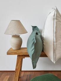 Keramik-Tischlampe Ramzi in Beige, Lampenschirm: Baumwolle, Lampenfuß: Keramik, Beige, Ø 34 x H 42 cm