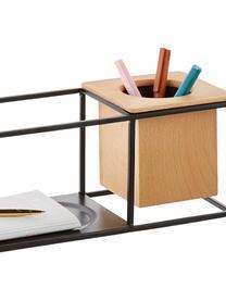 Petite étagère murale avec récipient Cubist, Noir, brun clair