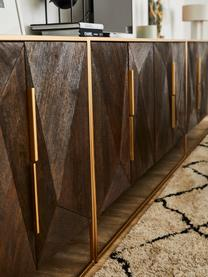 Sideboard Harry mit Türen aus massivem Mangoholz, Korpus: Massives Mangoholz, lacki, Griffe: Metall, pulverbeschichtet, Gestell: Metall, pulverbeschichtet, Mangoholz, Goldfarben, 175 x 85 cm