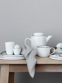 Handgemachtes Frühstücks-Set Salt mit schwarzem Rand, 4 Personen (16-tlg.), Porzellan, Gebrochenes Weiß, Schwarz, Sondergrößen
