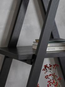 Schwarzes Standregal Clapham, Mitteldichte Holzfaserplatte (MDF) mit Eichenholzfurnier, lackiert, Schwarz, 120 x 175 cm