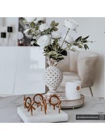 Designer-Brettspiel Tic Tac Toe aus Marmor, Sockel: Marmor, Spielsteine: Messing<br>Sockel: Weiß, 17 x 10 cm