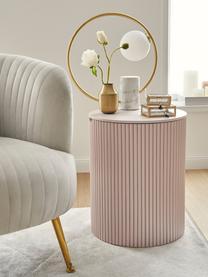 Tavolino contenitore rotondo Nele, Pannelli di fibra a media densità (MDF) con impiallacciatura di frassino, Rosa, Ø 40 x Alt. 51 cm