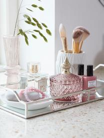 Aufbewahrungsdose Miya, Glas, Rosa, transparent, Goldfarben, Ø 9 x H 11 cm