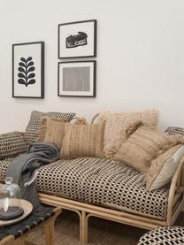 Federa arredo in cotone/juta Fiesta, Retro: 100% cotone, Nero, beige, Larg. 45 x Lung. 45 cm