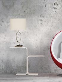 Tischlampe Posh mit ovalem Schirm, Lampenschirm: 40% Acryl, 60% Polyester, Lampenfuß: Metall, verchromt, Chrom, Weiß, 30 x 54 cm