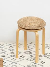 Runde Jute-Sitzkissen Ural, 2 Stück, Vorderseite: Jute, Rückseite: Baumwolle, Beige, Ø 40 x H 4 cm