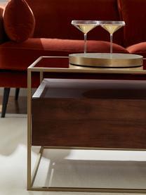 Salontafel Theodor met lades, Tafelblad: glas, Frame: gepoedercoat metaal, Transparant, mangohoutkleurig, goudkleurig, 100 x 45 cm