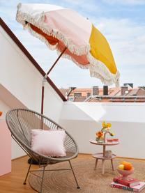 Gekleurde parasol Retro met franjes, knikbaar, Frame: gelamineerd hout, Franjes: katoen, Mosterdgeel, roze, wit, zwart, Ø 180 x H 230 cm